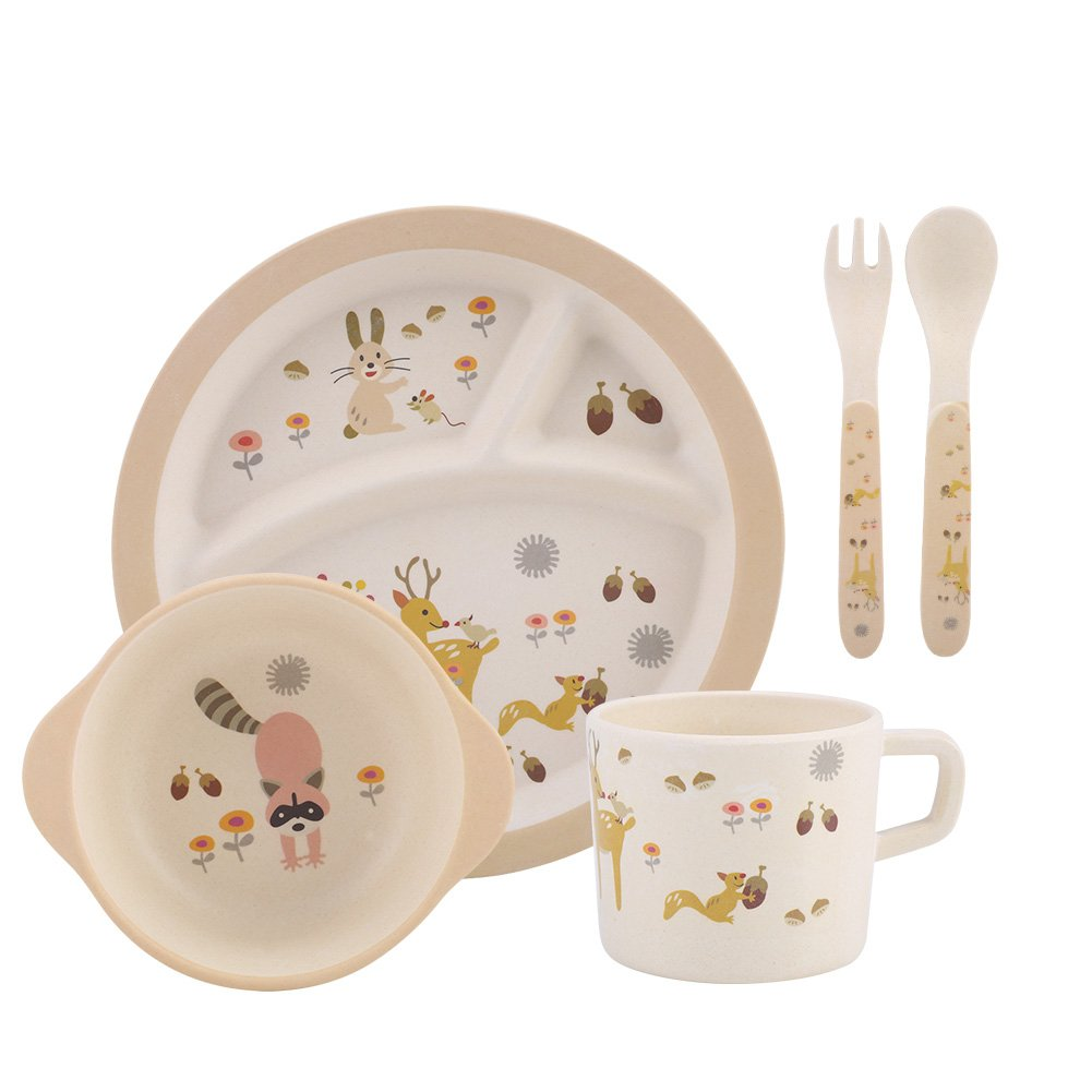 Children's 5 Piece Bamboo Dinner Set- Kids Plate, Bowl, Cup, Knife & Fork (d) Acogedor