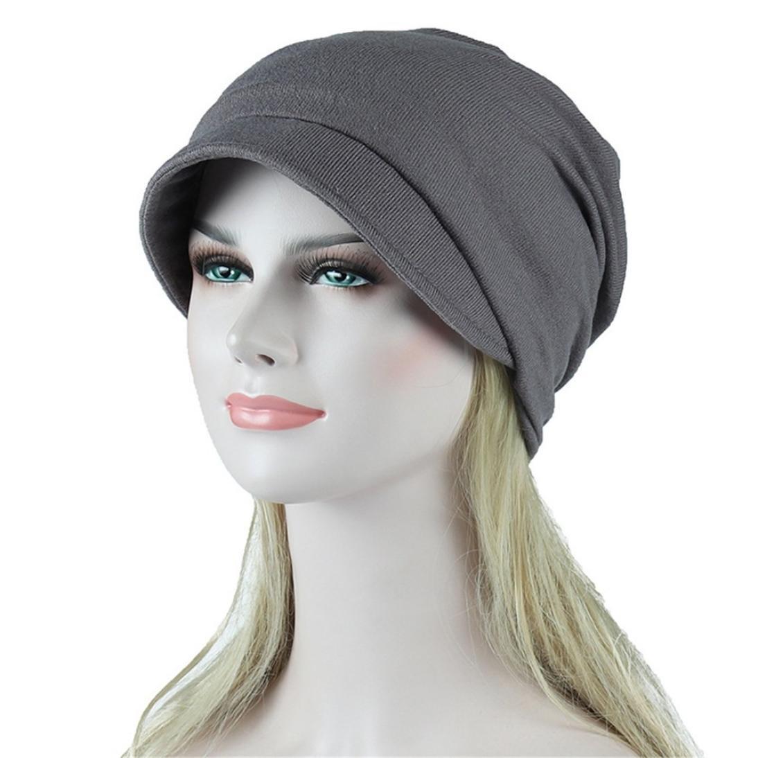 7557df96494 Amazon.com  SUKEQ Womens Slouchy Turban Chemo Hat Cotton Beanie Visor Cap  Cancer Head Scarf Tennis Sun Hat (Black)  Home Improvement