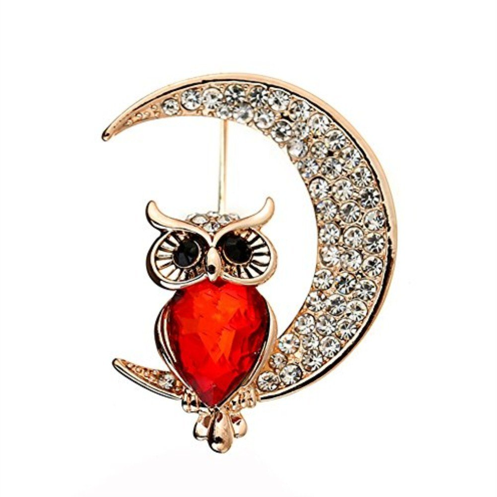 Hacoly Ladies Owl Moon Brooches Diamond Crysatl Pins Brooches Birthday Valentine Wedding Party Jewelry Covered Scarves Shawl Clip Woman Girl 652121235467