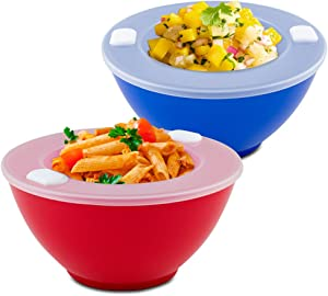 Dishwasher Safe Hot 'N Cold Bowls - Set of 2 - Keep Food Warm or Cool for Dinners, Parties, Buffets.