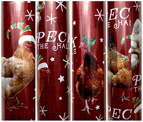 Peck the Halls Farm Chicken with Christmas Hat Christmas Gift wrapping Paper Large 100 sq ft Roll