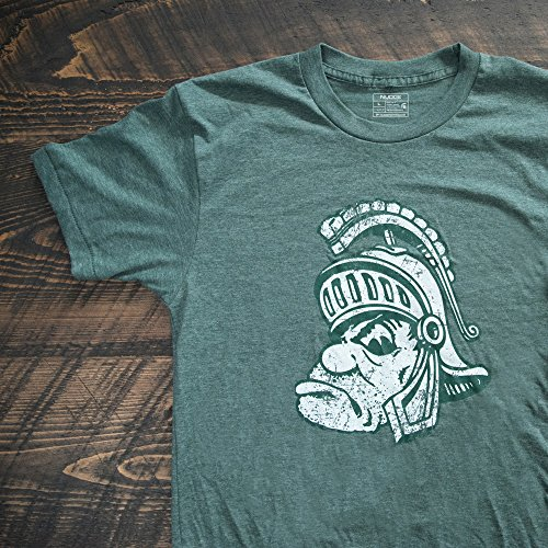 Mascot Spartans Michigan State (Nudge Printing Green Retro Michigan State University Spartans Gruff Sparty Ultra Soft T-shirt (Large))