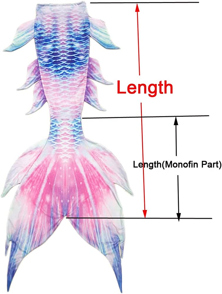 Blue Pink, Adult S XonyiCos Children Adult Unisex Mermaid Tail Luxurious Swimming Wear Without Monofin