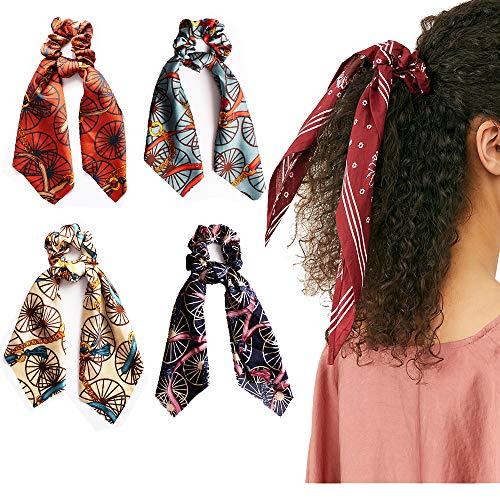 Vintage Silk Elastic Hair Scrunchies Women Girls Satin Flower Pattern Hair Ties 2 in 1 Multifunction Ponytail Holder party supplies 4Pcs Windmill ()