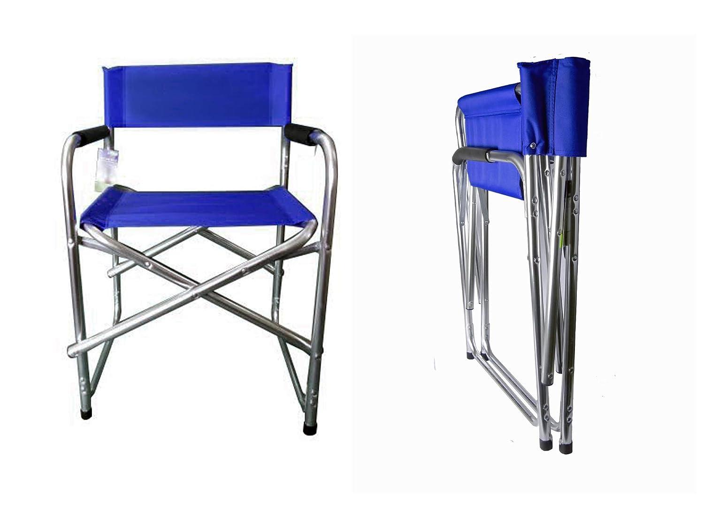 Hyfive Directores de Aluminio Azul Silla Plegable con apoyabrazos Silla de Camping Pesca Silla Silla de jardín