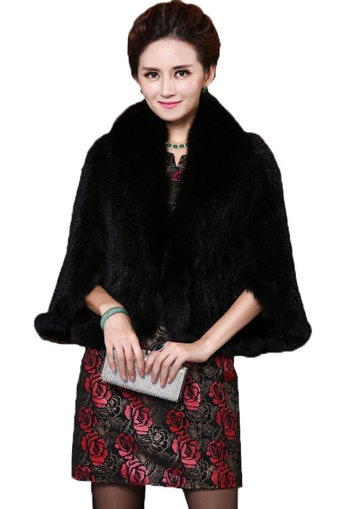 YR Lover Women's Real Mink Fur Cape Shawl Stole Jacket&Fox Fur Collar(Black)