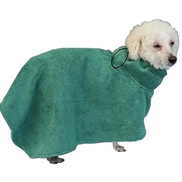 FOSINZ Albornoz de Perro Microfibra Repelente al Agua Secado Pijamas de Humedad Suave Absorbente para Perros y Gatos Verde-M: Amazon.es: Hogar