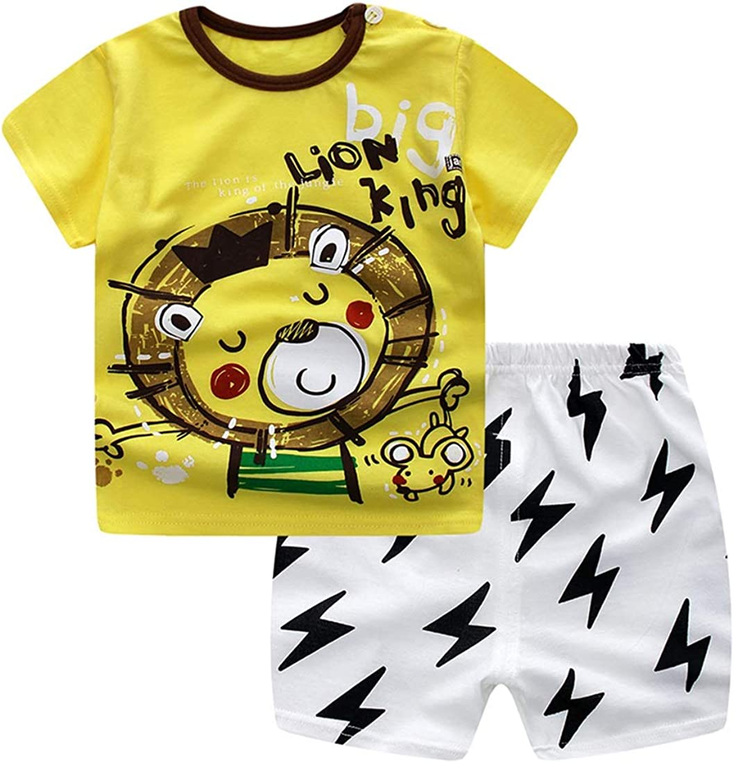 Color : Yellow Lion, Size : 110 MAOMAHREWW Baby Boy Girl Set T-Shirt+Shorts 2pcs Outfits Cotton Cartoon Summer Tops
