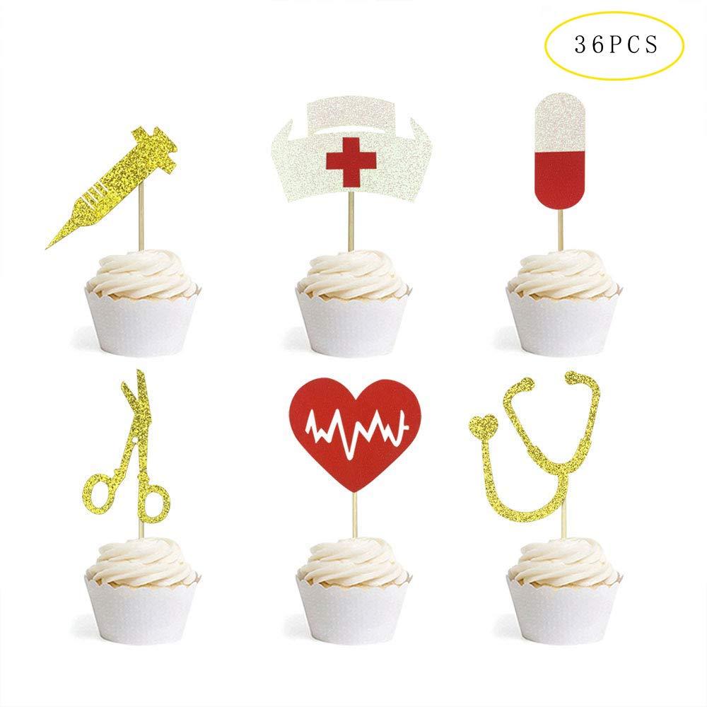 Tetor Nursing Cupcake Toppers Nurse Graduation Cupcake Picks Cake Decorations for Medical Rn Themed Party Supplies 36PCS