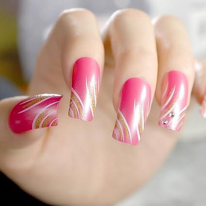 Z779 - Puntas de uñas postizas de tamaño largo, color rojo, brillantes, para