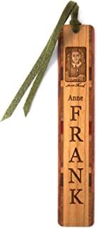 product image for Anne Frank Portrait with Signature - Engraved Wooden Bookmark with Suede Tassel