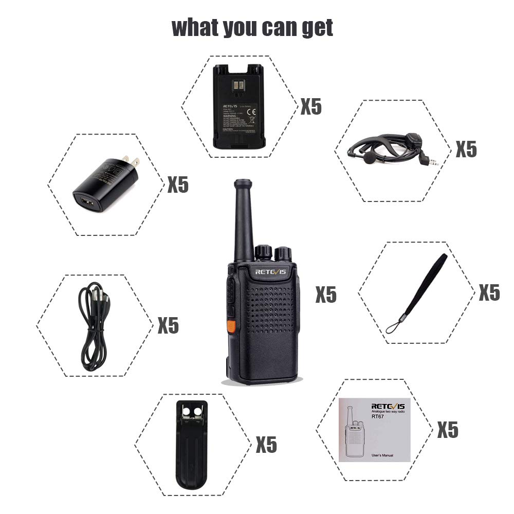 5 Pack Retevis RT67 Walkie Talkies for Adults Rechargeable UHF FRS 16 Channel Long Battery Life Small Two Way Radio for Event Planners
