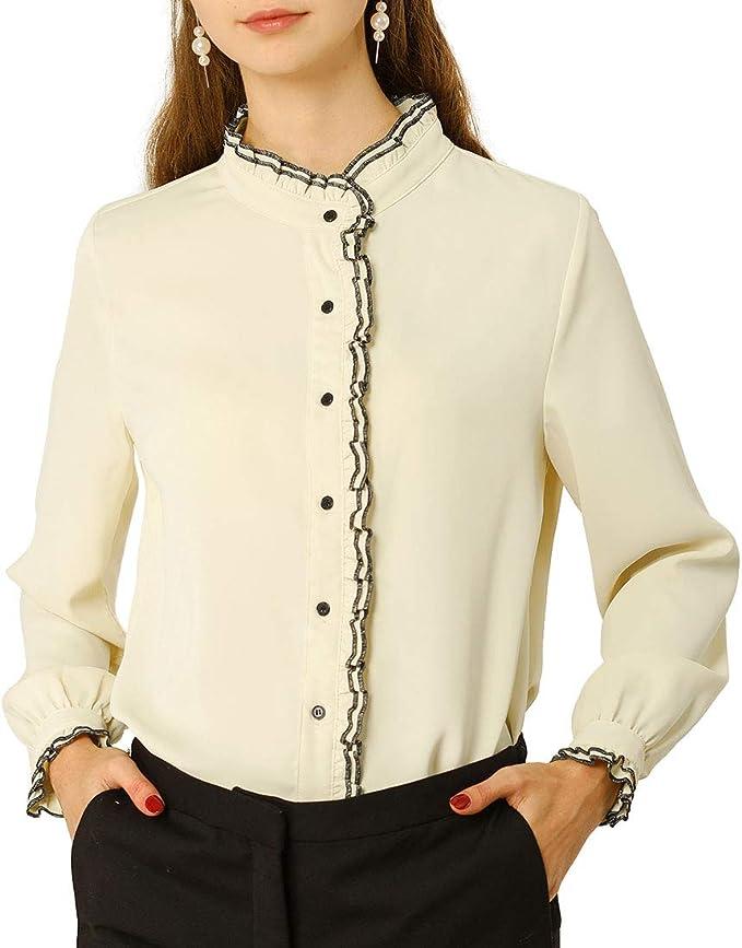 Stand Collar Long Sleeve Ruffle Button Polka Dot Print Elegant Satin Blouse Top