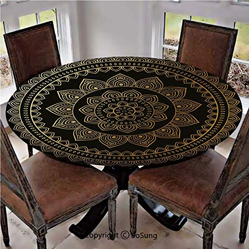 Elastic Edged Polyester Fitted Table Cover,Eastern Tribe Themed Circular Flower Motif Ornamental Meditation Symbol Decorative,Fits up 40