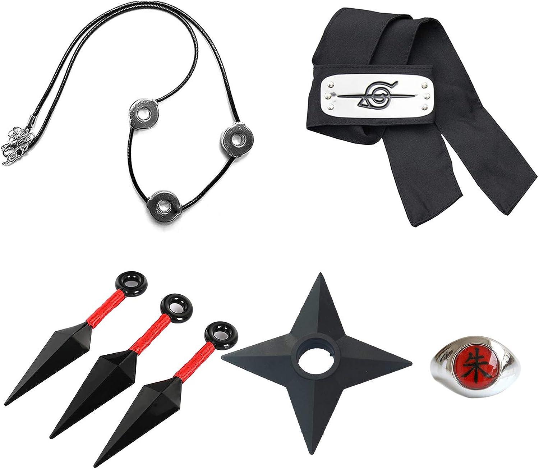 Shuriken Ninja Kunai Shippuden Collier Uchiha Itachi Anime Naruto Figurine Accessoire: Bandeau Konoha Bague Zhu