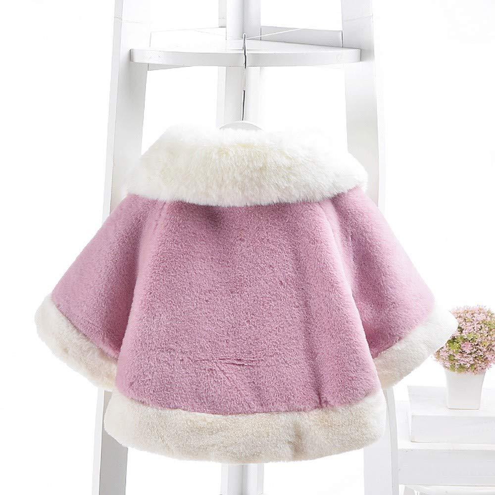 KONFA Toddler Baby Girls Winter Warm Clothes,Fur Collar Pompom Cotton Cloak Coat,Kids Outerwear Thick Jacket Tops Set