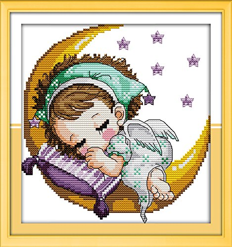 - Cross Stitch Embroidery Starter Kit Including 11ct Classic Reserve Aida Colored Threads And Tools The Moon Baby (Girl)(No Frame)