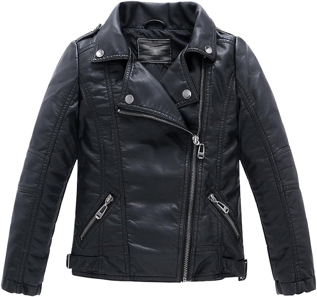 Uwback Childrens Leather Jackets Studded Boys Girls Motorcycle