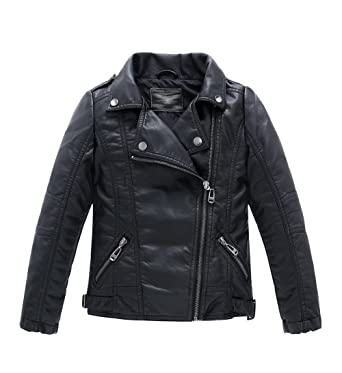 4bd32779e986 Amazon.com  LOKTARC Boys Girls Spring Motorcycle Faux Leather ...
