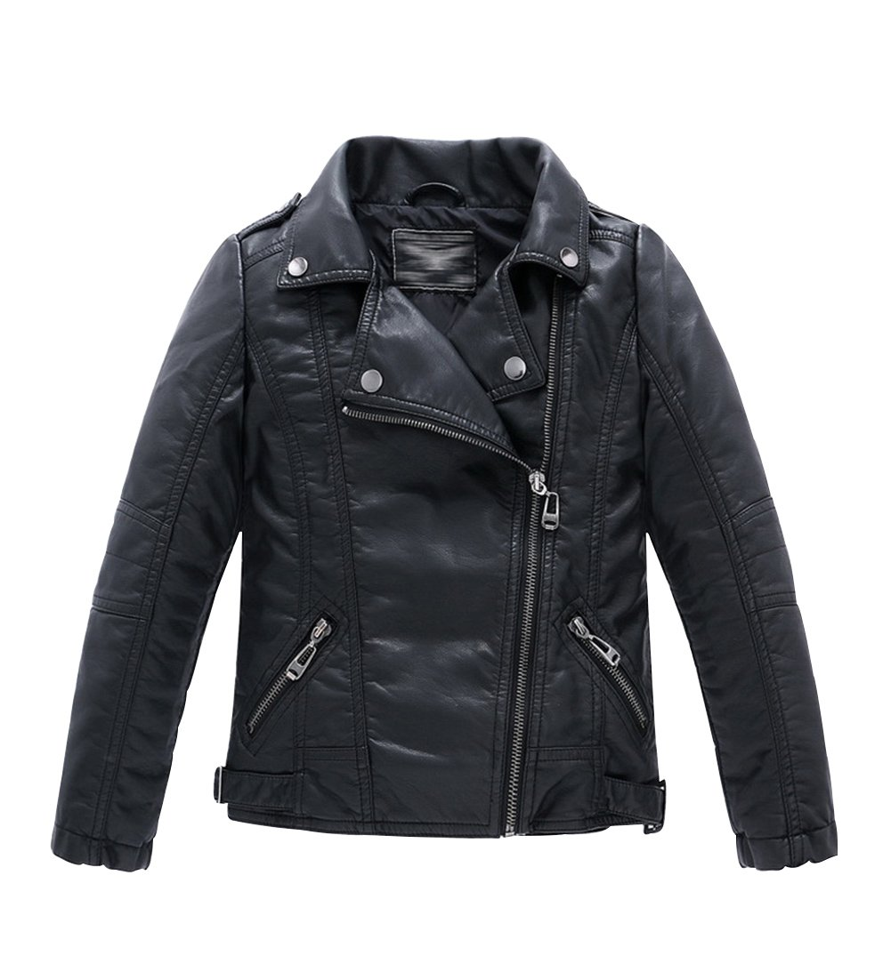 YoungSoul Boys Girls Spring Moto Faux Leather Jackets with Oblique Zipper Black 11-12T