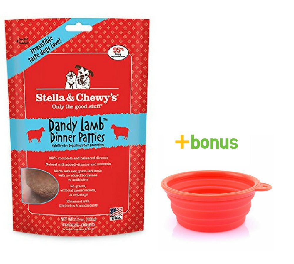 Stella & Chewy's Freeze Dried Dog Food,Snacks 5.5-ounce Bag & Hot Spot Pet Food Bowl - Made in USA (Lamb)