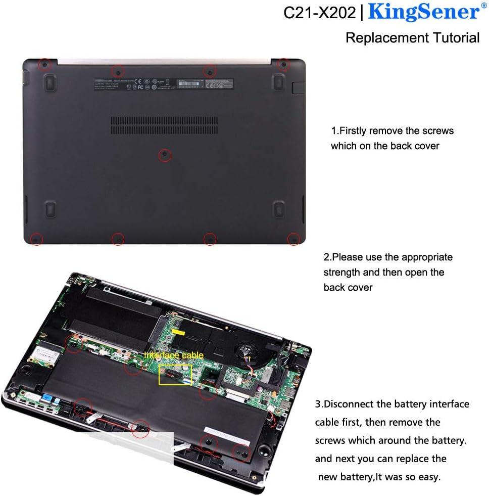 KingSener C21-X202 Laptop Batterie Pour ASUS VivoBook S200 S200E X201 X201E X202 X202E S200E-CT209H S200E-CT182H S200E-CT1 5136mAh Avec 2 Ans de Garantie Gratuite