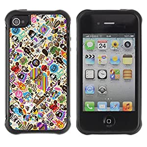 Hybrid Anti-Shock Defend Case for Apple iPhone 4 4S / Cool & Cute Tatto Pattern