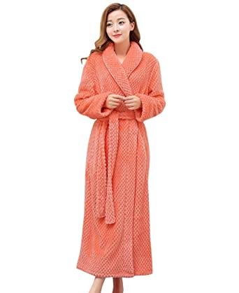 Pobrous Women s Long Fleece Winer Cozy Warm Flannel Robes Bathrobe Pajamas  Orange Medium 894d49411