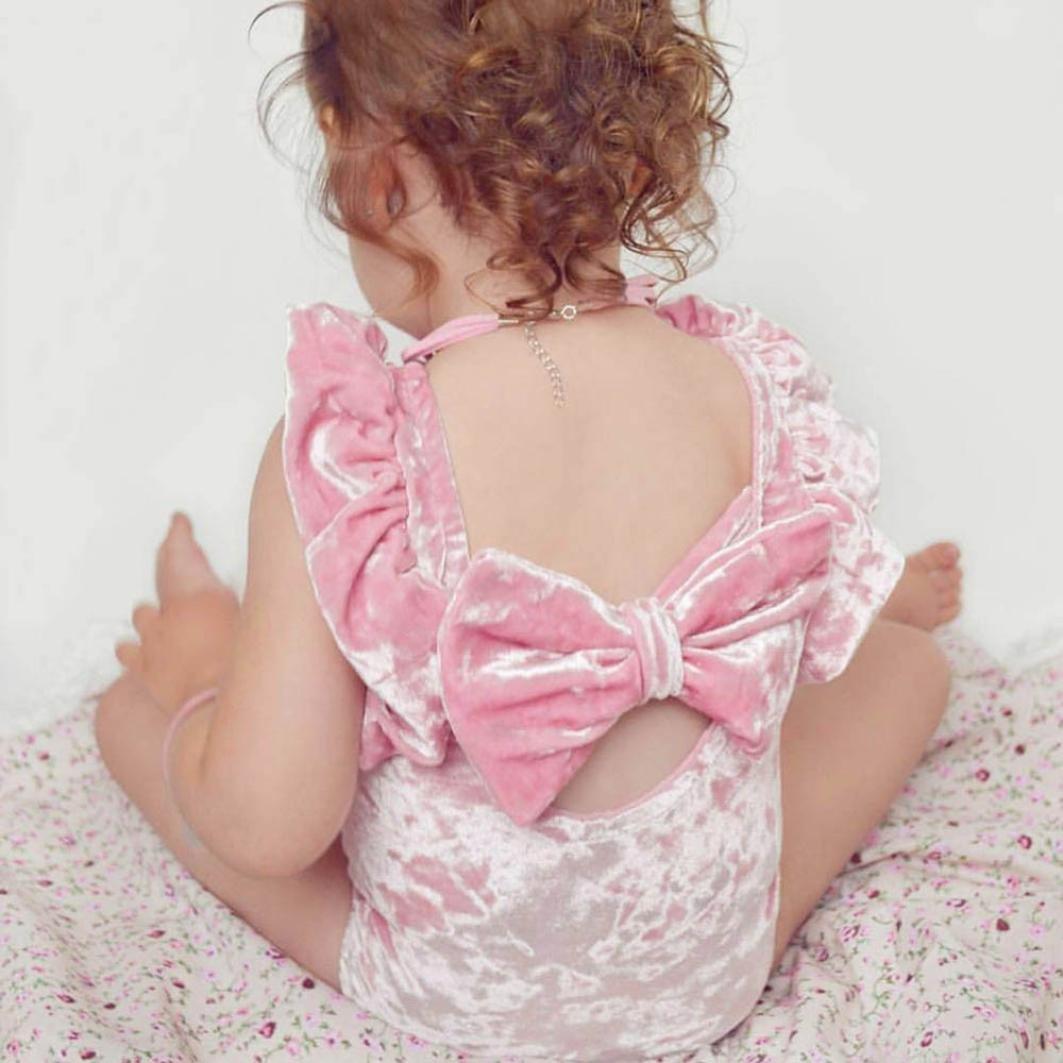 KaiCran 2PC Toddler Baby Girl Sleeveless Velvet Romper Backless+Big Bowknot Pink Sweet Jumpsuit Playsuit