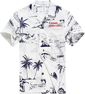 Young Adult Boy Hawaiian Aloha Luau Shirt in White Map and Surfer Palm Wave 049105