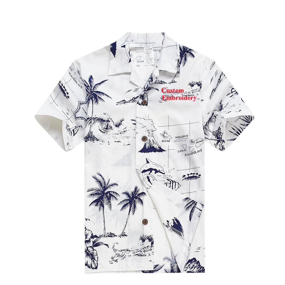 Young Adult Boy Hawaiian Aloha Luau Shirt in White Map and Surfer Palm Wave 049105