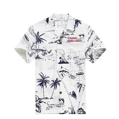 83e13c53 Amazon.com: Palm Wave Young Adult Boy Hawaiian Aloha Luau Shirt in White  Map and Surfer: Clothing