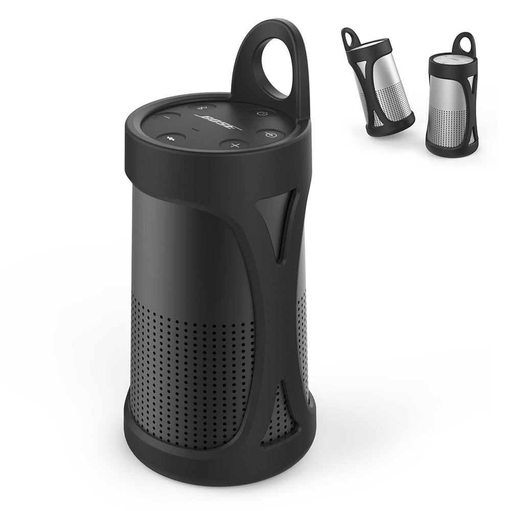 AhaStyle Premium Silicone Case Sling Cover for Bose SoundLink Revolve [Impact Resistant] [Easy to Carry] (Black)