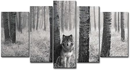 Modern Canvas Prints Landscape Painting Picture Background Wall Wolf-S