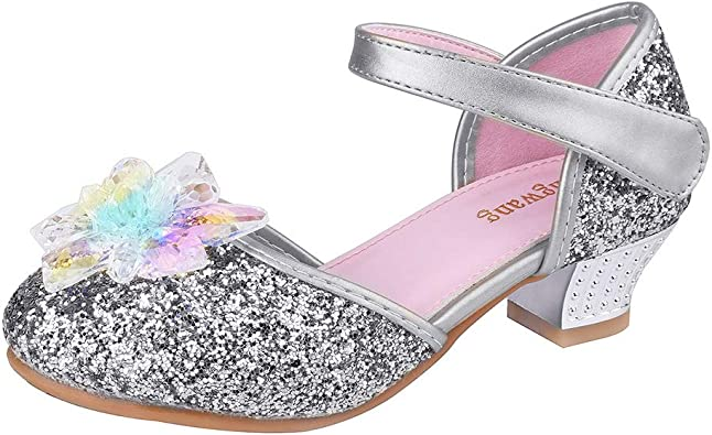 Wangwang Girls Silver Shoes Cystal