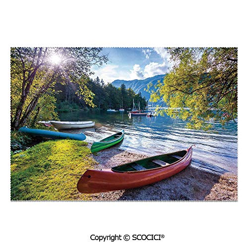 Cabelas Canoe - SCOCICI Set of 6 Printed Dinner Placemats Washable Fabric Placemats Bohinj Lake with Boats Canoes Triglav National Park Julian Alps Slovenia Print for Dining Room Kitchen Table Decoration