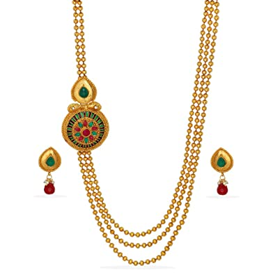 23305efa96a Buy Ethnic Fashion Artificial Kundan Work Side Pendant Necklace Jewellery Sets  Online at Low Prices in India