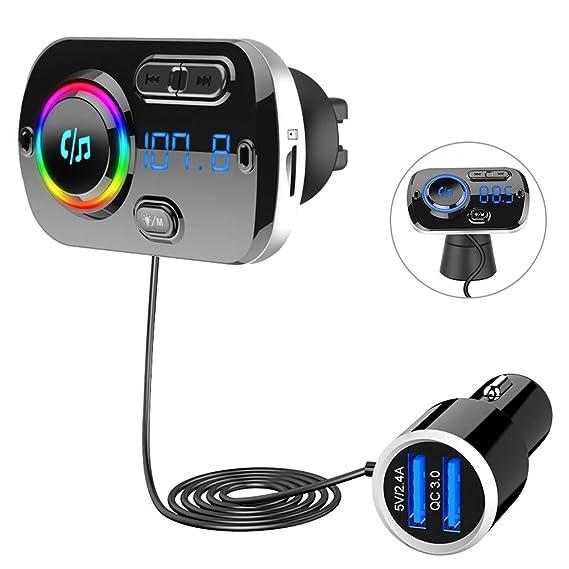 SONRU Upgrade Transmisor FM Bluetooth 5.0 Coche, Manos Libres para Vehículos, Reproductor MP3 Coche, Carga Rapida QC3.0, 2 USB Portes 5V/3A y 2.4A, Apoyo Tarjeta TF AUX, SIRI/Google con Luz Colorida