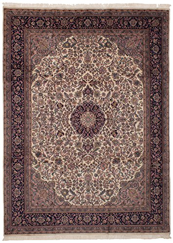 eCarpet Gallery Hand-Knotted | Large Area Rug for Living Room, Bedroom | Home Decor Rug | 100% Wool | Royal Kashan Bordered Ivory Rug 8'0