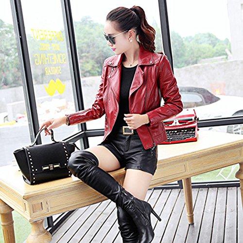 Veste Cuir Faux Bigood Zip Manteau Femme Blouson Bordeaux Moto Hiver Chaud wqf76