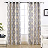 yellow insulated grommet curtains - DriftAway Adrianne Damask/Floral Pattern Thermal/Room Darkening Grommet Unlined Window Curtains, Set of Two Panels, each (52