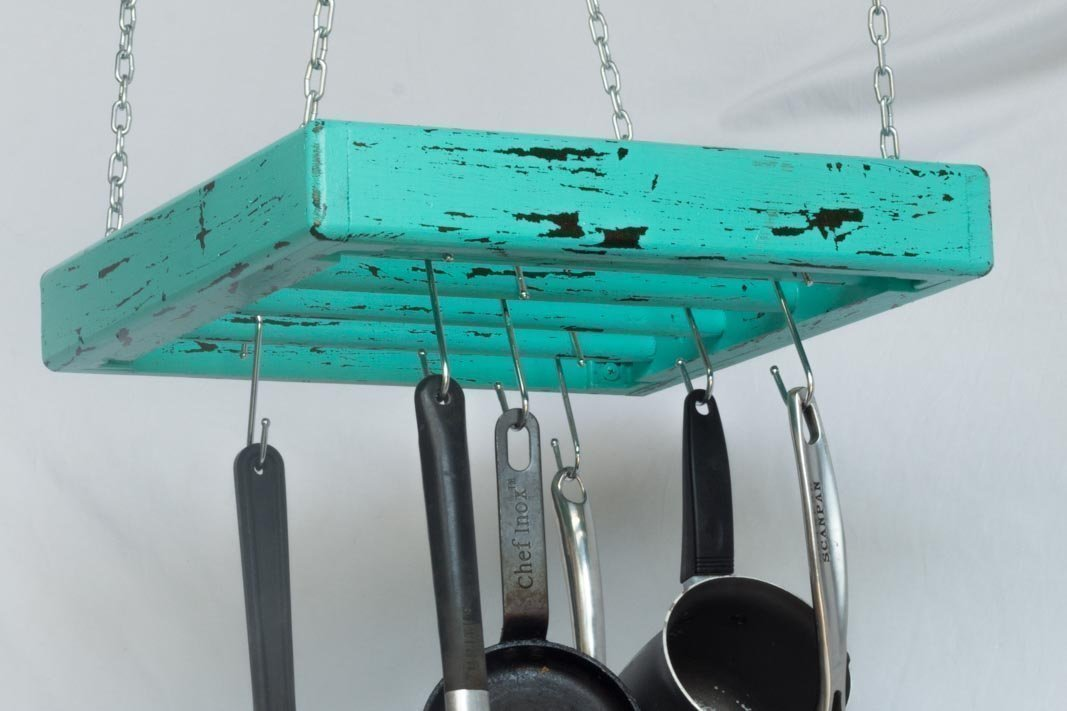 Pot Rack - Wooden - Ceiling Mounted - Square - Small - 4 Rungs - Hang Kitchen Pots and Pans