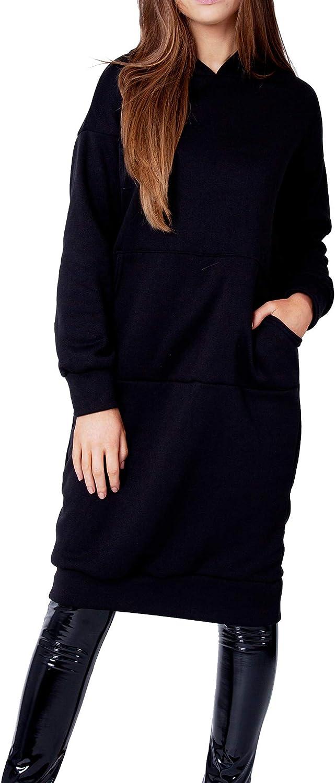 Robe Pull à Capuche pour Femme OversizeManches Longues