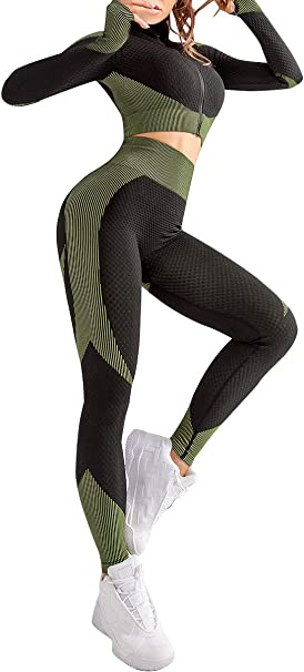 JOYMODE Womens 2 Piece Workout Set Long Sleeve Tracksuit Thumb Hole Front Zipper Crop Top with Butt Lift Shaping Pants
