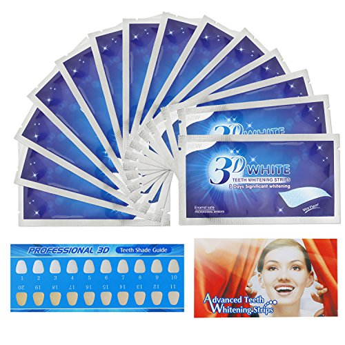 Teeth Whitening Strips, Herwiss 3D White Whitestrips with Mint Flavor for Gum Health and Refresh Breath, Dental Whitener Kit Elastic Gels for Teeth Stain Removal