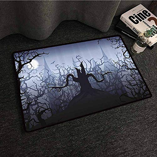 Halloween Decorations Non-Slip Door mat Darkness in Forest Swirling Spooky Branches Nature Trick or Treat Hard and wear Resistant W35 xL47 Grey Black -