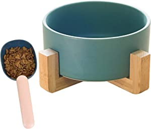 Hamiledyi Ceramic Raised Dog Bowl Food Water Elevated Pet Dish with Anti-Slip Wood Stand,Cat Sealable Food Scoop for Small Dog Cat