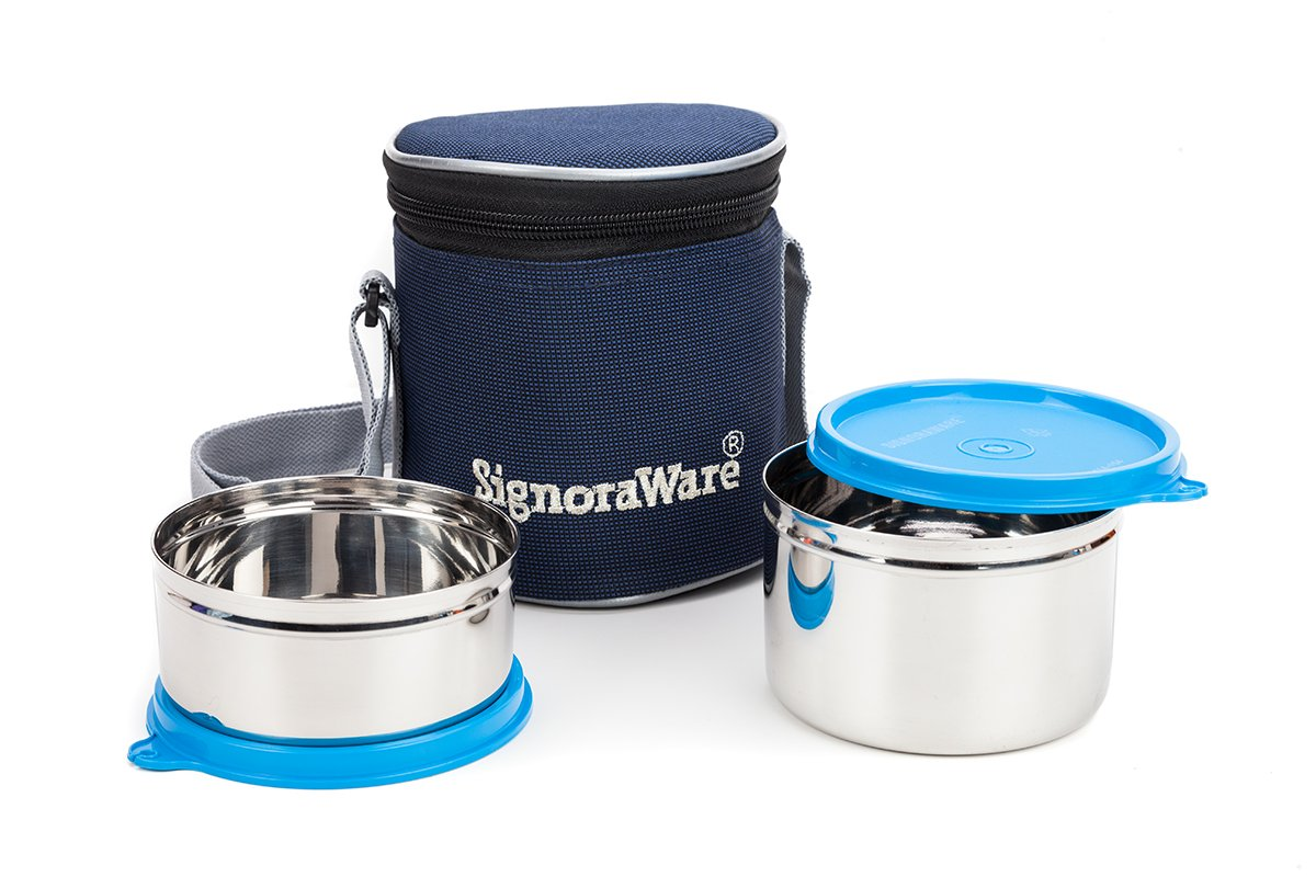 Signoraware Executive Stainless Steel Lunch Box Set, Set Of 2, Blue