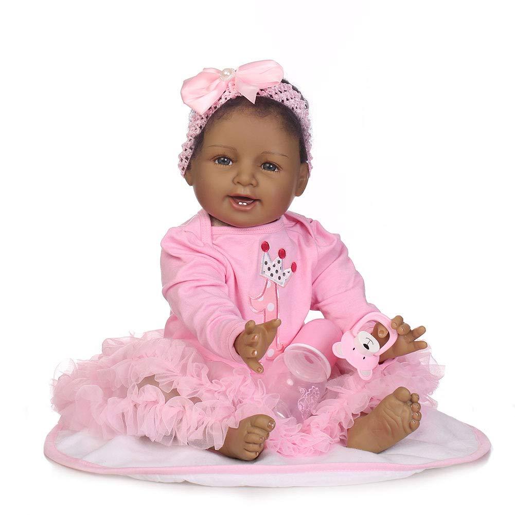 WANGXN Reborn Babypuppen 55CM Likelike Vinyl Gewichteten Reborn Baby Girl Puppe Mit Tuch,55CM
