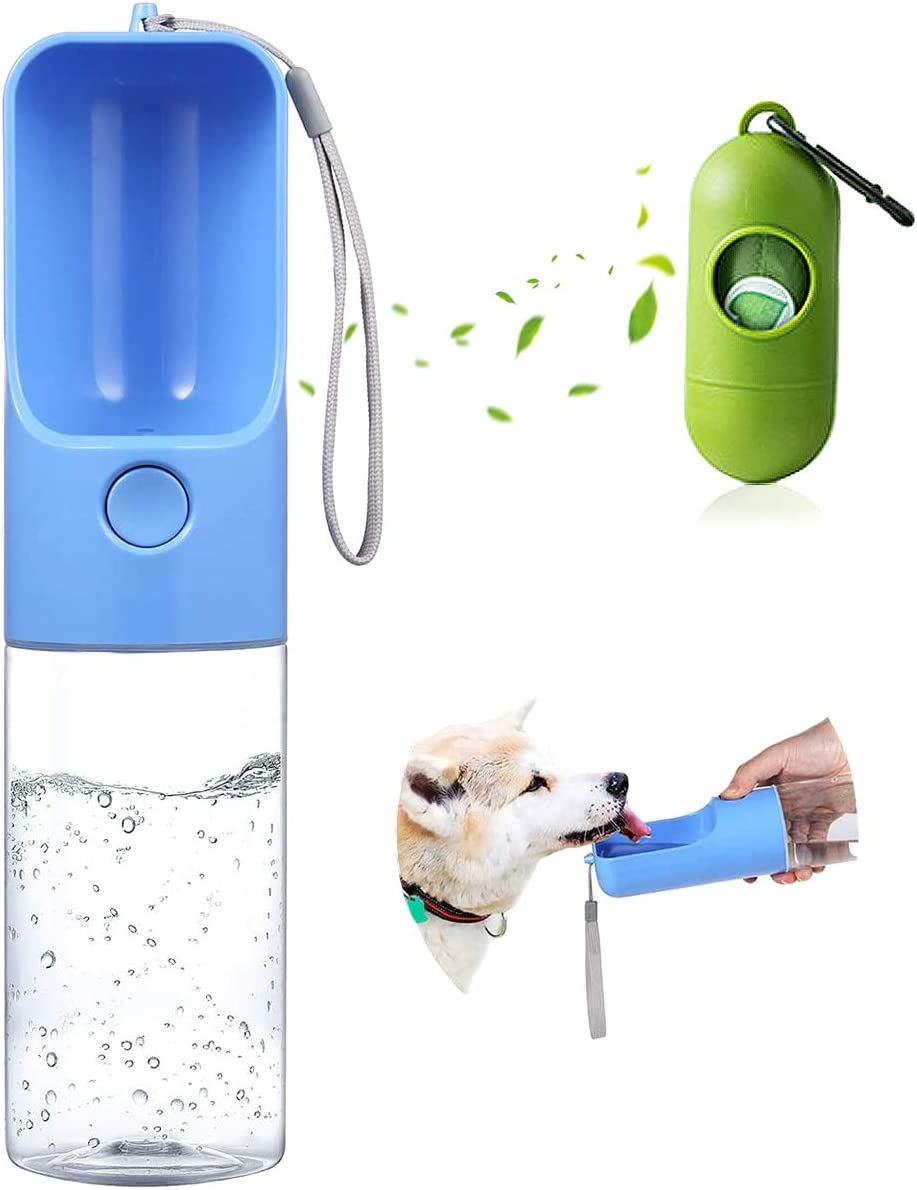 Dog Water Bottle with Poop Bags Dispenser